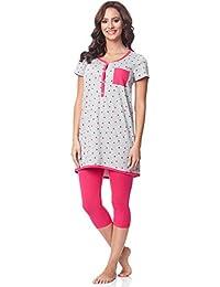 Be Mammy Pijamas con Lactancia Function Manga Corta para Mujer BE20-177