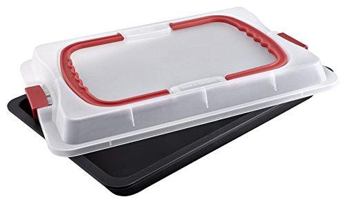 Tiefe Rechteckige Backform (Dr. Oetker Backblech 3in1 mit Transporthaube, Ofenblech zum Backen, Aufbewahren & Transportieren, als Pizza-, Auflauf- & Kuchenblech, Maße: 42 x 29 cm)