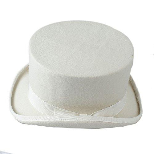 Mad Bomber Hat (Rioja Vintage traditionelle Wolle Fedoras Hut 15 CM Mad Hatter Zylinderhut Bomber Hut (Farbe : Weiß, Größe : 61 cm))