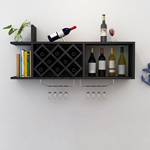 WINEBOT Weinregal Wand Weinschrank Holz Weinglashalter Home Rhombic Wine Grid 120x23x35.5cm (Farbe : Schwarz)