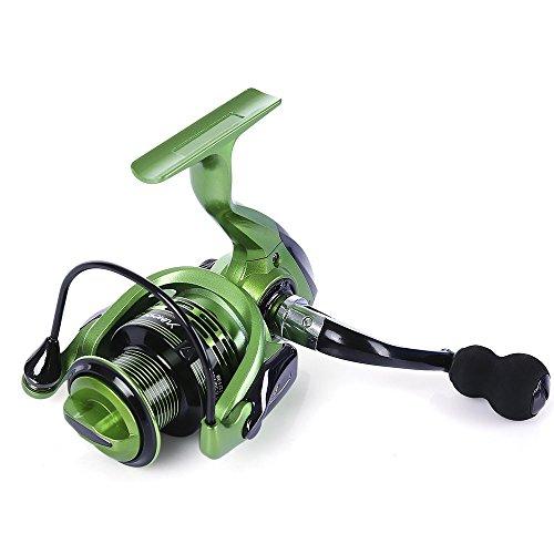 YUMOSHI Angelrolle 13 + 1 BB, Vollmetall-Angelrolle mit austauschbarem Griff, geeignet für alle universellen Angelruten wie Flussangeln, Meeresangeln, Bachruten, grün, XF3000