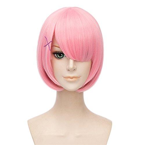 lisanyeu Charming Lady Discoball Bob kurz gerade Pink Schnitt Pony Cosplay Kostüm Perücke