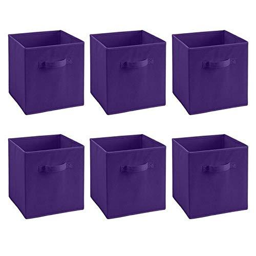 terilizi 6 Stücke Zusammenklappbare Faltbare Tuch Lagerung Würfel Korb Aufbewahrungsbox Spielzeug Buch Lagerung Aufbewahrungsbehälter Schublade Lila 27 X 28 X 28 cm (Lila Lagerung Würfel)