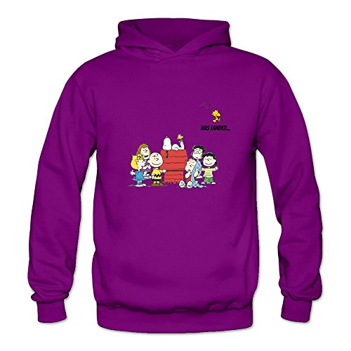 Peanuts Snoopy Long Sleeve O Neck Hoodies For Women Purple L