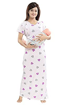 TUCUTE Women's Beautiful Heart n Dott's Print with Invisible Zip Feeding/Maternity / Nursing Nighty/Nightwear.