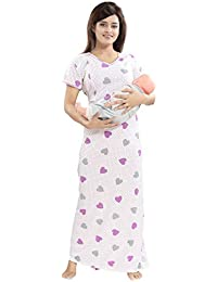 1681807a58 TUCUTE Women s Beautiful Print with Invisible Zip Feeding Maternity Nursing  Nighty Nightwear.