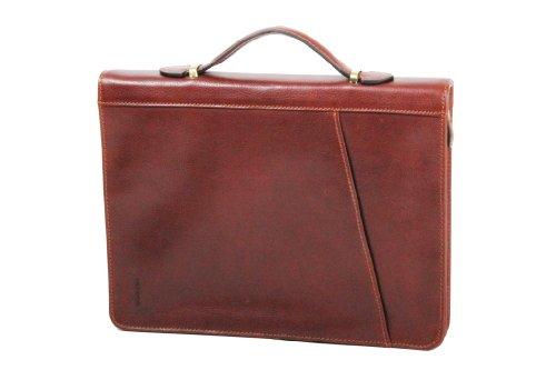 Ceancarel-Cartella per conferenza, in pelle di vacchetta, Katana grassi, 36820 K Marrone (marrone)