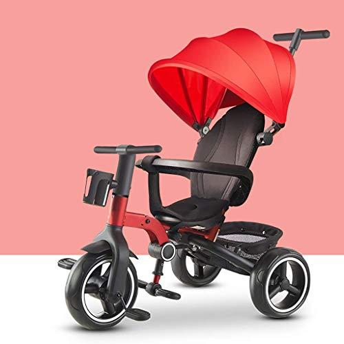 Baby Klappbar Sonnendach Bleu Dreirad,Outdoor 4 In 1 Rot Kinderdreirad,1-6 Jahre Alt Junge Mit Schubstange Gris Dreirad Mädchen