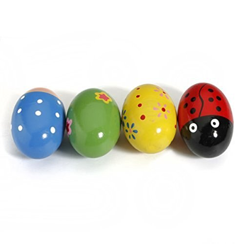 ULTNICE 4pcs Kids Baby Wooden Egg Maracas Shakers Music Percussion Toy (Random Color)