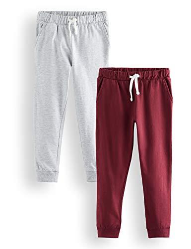Marque Amazon - RED WAGON S 2 Pack Jogger Pantalon Garçon, Multicolore (Grey Melange Tawny Port(19-1725 TCX), 140 (Taille Fabricant: 10) Lot de 2