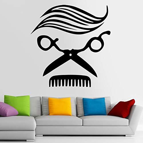 fenshop Homme Coiffeur Autocollant Nom Chop Pain Décalque De Cheveux Coupe De Cheveux Tondeuses Rasoirs Affiche Vinyle Mur Art Stickers Décor Windows Décorati 58x58cm Applique Coupe