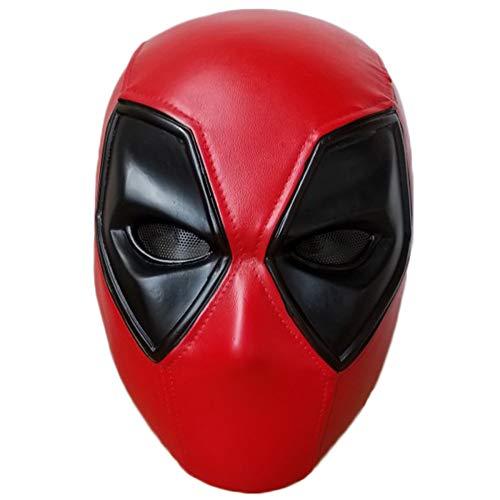 QQWE Deadpool Helm Maske Marvel Hero Kopf Cosplay Maske Film Spiel Harz Maske Kostüm Requisiten,Red-OneSize
