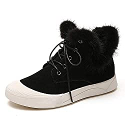 jrenok women snow boots ankle boots winter solid lace-up short plush round toe sewing flock flat shoes - 41tV 2Bu3P 2BdL - JRenok Women Snow Boots Ankle Boots Winter Solid Lace-up Short Plush Round Toe Sewing Flock Flat Shoes