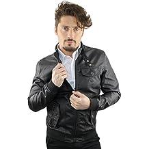 Giubbotto in ecopelle nero uomo - giacca leggera primaverile (Made in Italy) RDV