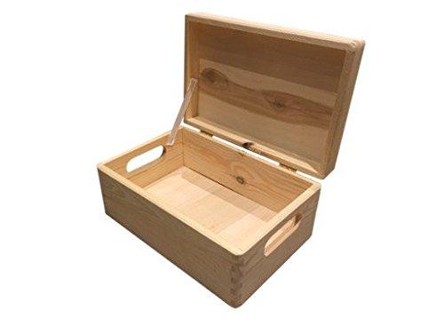 Decoupage Holzkiste mit oder ohne Deckel zum Bemalen für Aufbewahrung z - Kiefer naturbelassen unbehandelt )