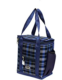 Widnes Stylish Light Weighted Soft Checkered Hand Carrying Lunch Bags Lunch,Box,Bag,Blue
