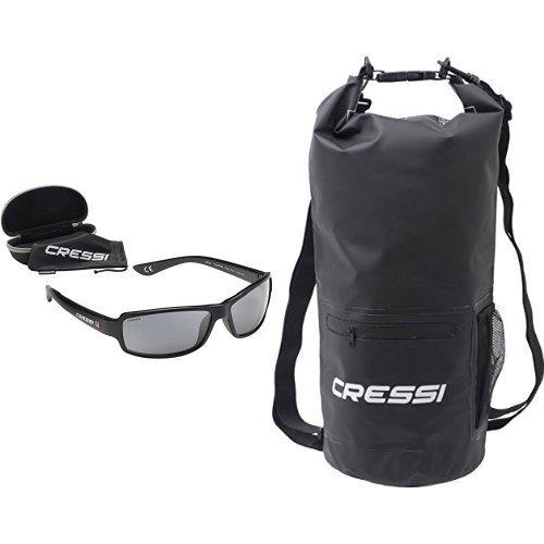 Cressi Ninja Schwimmend Sonnenbrille Erwachsene Polarisierte + Dry Bag with Zip - Wasserdichte Taschen mit Langem Verstellbaren Schulterriemen, für Tauchen, Bootfahren, Kajak, Rafting, Snowboarden