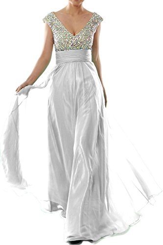 MACLoth Women Cap Sleeve V Neck Crystal Chiffon Long Prom Dress Evening Gown Weiß