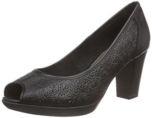 Marco Tozzi Premio 29306, Damen Peep-Toe Pumps, Schwarz (BLACK ANTIC 002), 37 EU
