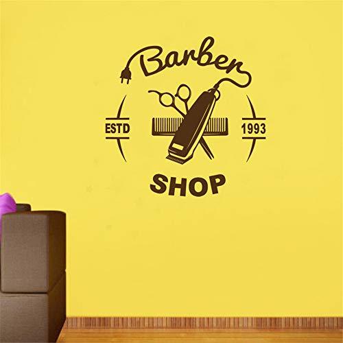 Männer Mini-köln (Crjzty Mann Friseur Aufkleber Name Chop Brot Aufkleber Haarschnitt Haarschneider Rasierer Poster Vinyl Wandkunst Aufkleber Decor Kaffee 114x114 cm)