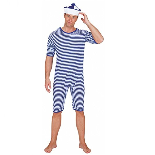 20er Jahre Männer Badeanzug Kostüm - Badeanzug blau weiß geringelt Gr. M
