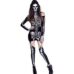 Fortuning's JDS Las mujeres de rayos X fuera de hombro vestido de esqueleto del traje de Halloween cosplay