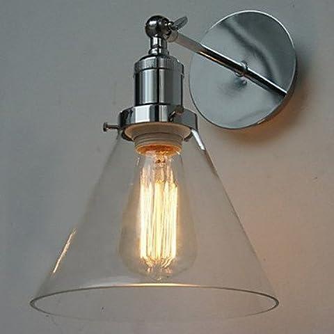 MSAJ-Lampade da parete minimalista moderno 60W in stile Art Déco Lampada da parete con vetro cono ombra di Down(BBBY) , 220-240V