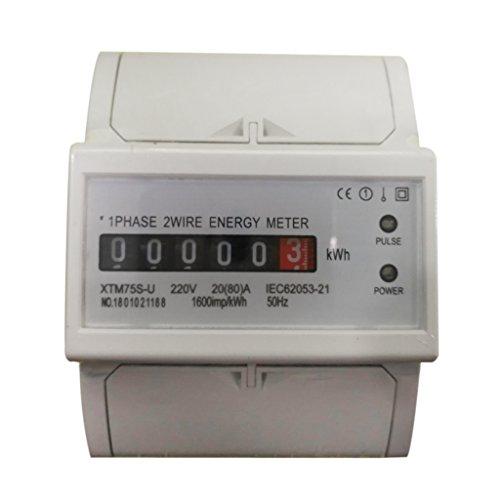 perfk Digitale Stromzähler Elektrozähler Wattmeter kWh Meter - 1 Phase 2 Wire 20(80) A -