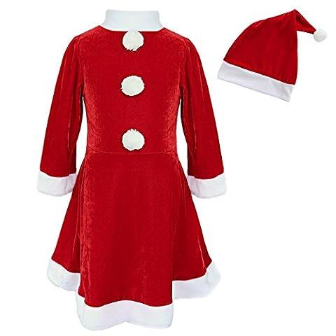 iEFiEL Robe Rouge Avec Bonnet Déguisement Noël Robe Fille Costume Tenues Chapeau Vêtement Enfant Robe Fête 3-10 Ans Rouge 7-8 Ans
