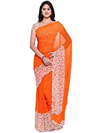 Vaamsi Women's Chiffon Saree With Blouse Piece(Empress1063_Orange_Free Size)
