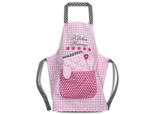 Emily´s Check Kochmütze - Küchenschürze & Topfhandschuh für Kinder 468.550, Küchenschürze & Topfhandschuh 3-6 Jahre, Kitchen Princess (11 Stück Bettwäsche-set)