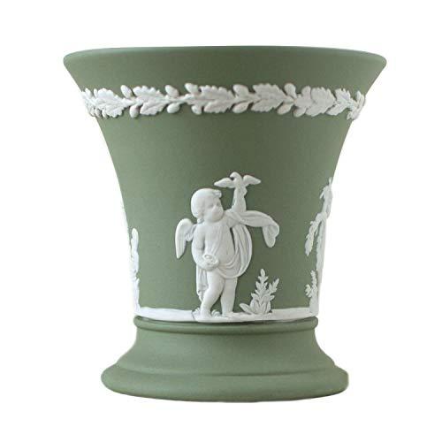 Wedgwood Seasons Green Jasperware Vase, Vintage-Stil, 1970er-Jahre, weiße Reliefjahre, Engel, 8,9 cm, salbeigrün Jaspis Wedgewood Jasperware
