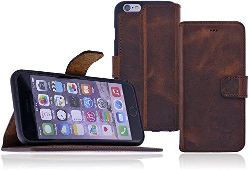 Burkley Apple iPhone 6 / iPhone 6S Hülle   Tasche   Lederhülle   Handyhülle   Ledertasche   Handytasche   Schutzhülle   Flip Cover   Book Case   bruchfester Innenschale   Kartenfach (Dunkel Braun) Kaffee Braun