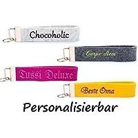 Wollfilz Schlüsselanhänger bestickt mit Wunschtext + Motiv Schlüsselband individuell personalisiert