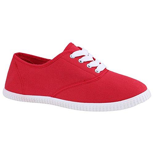 Damen Herren Slipper Sneaker Stoffschuhe Turnschuhe Sommer in mehreren Farben 36-45 Rot Weiss