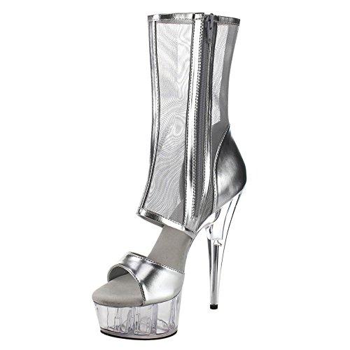 Pleaser masturbateur delight 600-31 sexy peep-toe-bootie sandal-plateau avec vernis noir, 35-41 Slv Metallic Pu-Mesh/Clr