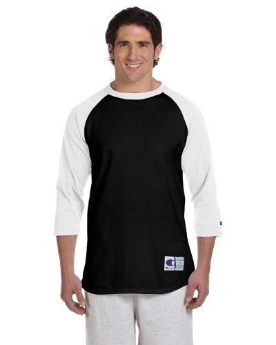Champion 5.2 OZ. Raglan Baseball T-Shirt Black/White