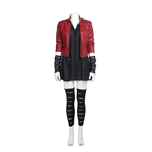 QWEASZER Marvel Avengers Wanda Maximoff Cosplay Scarlet Hexe Film Kostüm Damen Jacke, Kleid, Armband, Socken Halloween Kostüm Requisiten Deluxe - Benutzerdefinierte Für Erwachsenen Hexe Kostüm