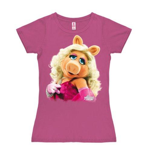 Kostüm Miss Piggy Muppets - Logoshirt Muppet Show - Miss Piggy Portrait T-Shirt Damen - pink - Lizenziertes Originaldesign, Größe S