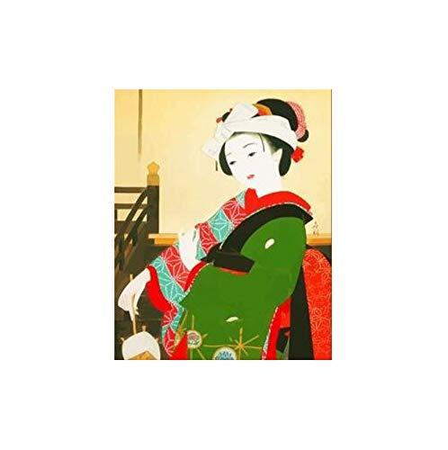 Malen nach Zahlen DIY japanische kostüm Kimono schönheit leinwand handgefertigte Japan wandkunst Bild für wohnkultur Erwachsene 40x50 cm kein Rahmen (Katze Diy Erwachsene Kostüm Für)