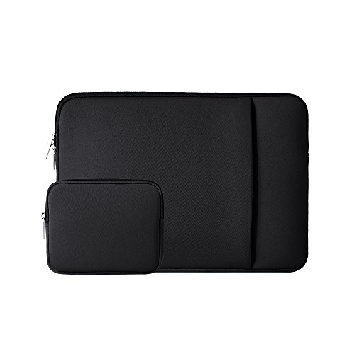 "RAINYEAR 14 Inch Laptop Sleeve Case Protective Soft Padded Zipper Cover Carrying Computer Bag with Front Pocket & Accessories Pouch,Compatible with 14"" Notebook Chromebook Tablet Ultrabook(Black)"