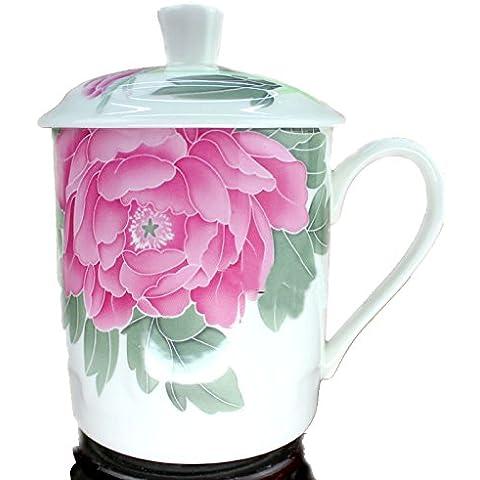 Red pintado a mano la flor del Peony de Jingdezhen China de hueso la taza de té con tapa