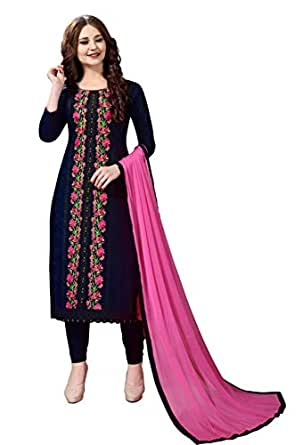 Nivah Fashion Women's Cotton Embroidery Unstitched Salwar Suit Material