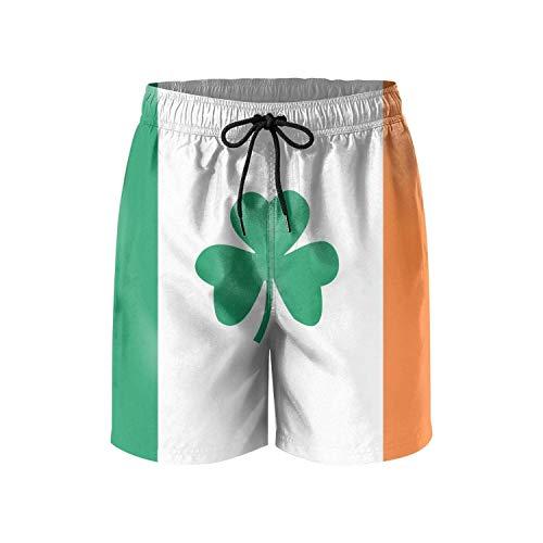 Irish Flag Ireland Mens Swim Trunks Quick Dry Board Shorts Swimwear for Men with Pockets (M) -