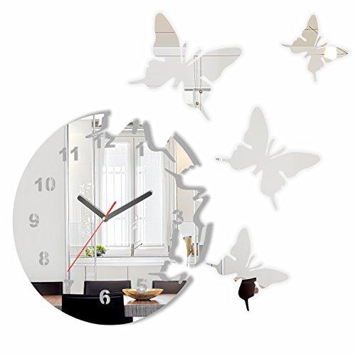 Specchio orologio da parete salotto tondo moderno farfalle decorativo silenzioso 30 cm