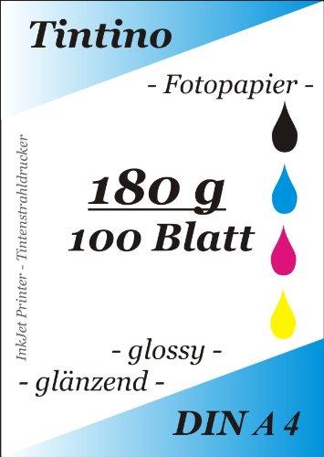 glaenzend-Fotopapier A4Für Tintenstrahldrucker, 100Blatt, 180g/m?, EXTRA GLANZ, Waterproof, schnelltrocknend, für brillante Farben, Farbe: weiß
