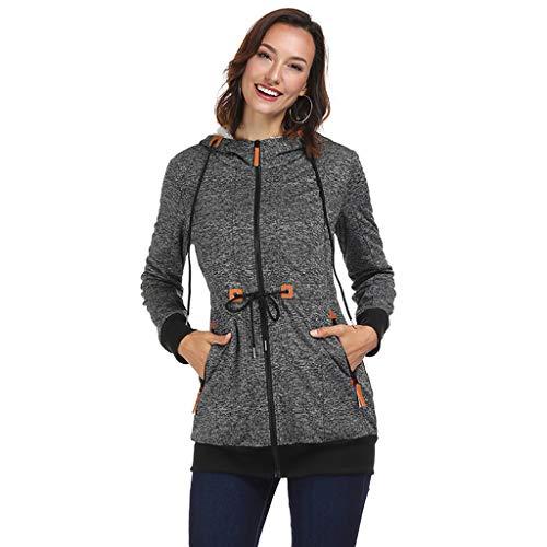 (i-uend 2019 Damen Mantel - Frauen Langarm Kapuzenpullover mit Kapuze Sweatshirt Kapuzen Pullover Freizeit Sport Hoody Jacke Mantel Parka Outwear)