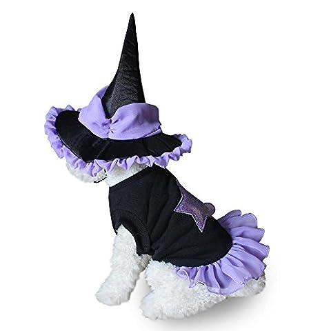 Pet Dog Halloween Soft Wizard Suit Vêtements Costume Puppy Cat Dress Hat Clothing LNAG , m