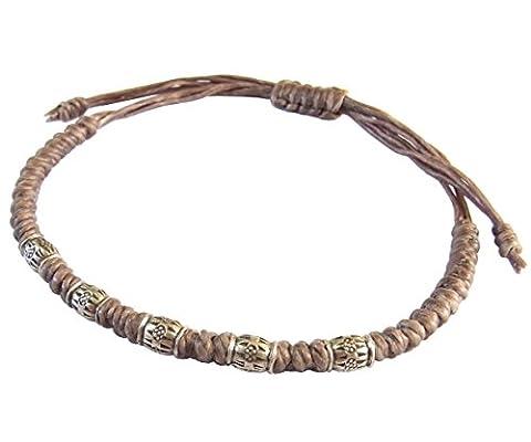 LUN NA Asiatique 100% Fait Main Perles de Argent 925 Bracelet Gris Ficelle de Cire