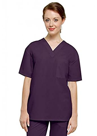 Adar Unisex V Neck Tunic 1 Pocket Medical Hospital Nurse Scrub (Available in 16 colors) - 6011 - Eggplant -